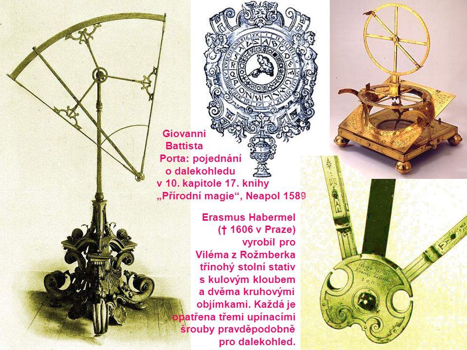 """Giovanni Battista Porta: pojednání o dalekohledu v 10. kapitole 17. knihy """"Přírodní magie"""", Neapol 1589 Erasmus Habermel († 1606 v Praze) vyrobil pro"""