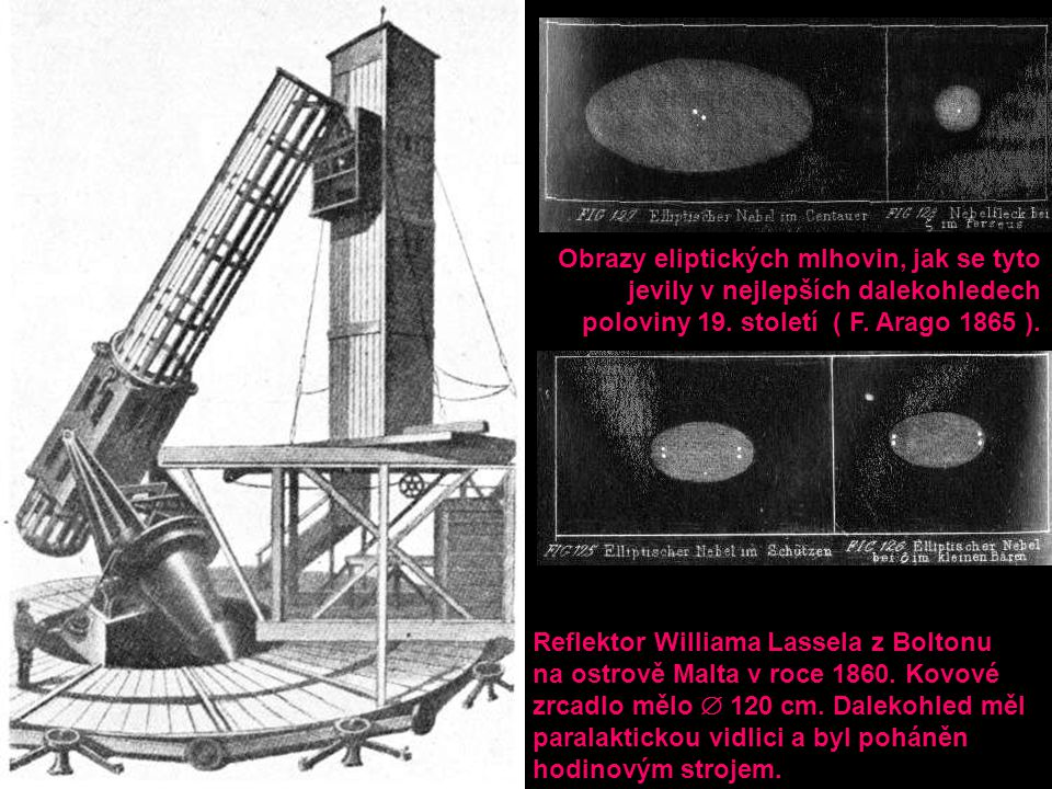 Reflektor Williama Lassela z Boltonu na ostrově Malta v roce 1860. Kovové zrcadlo mělo  120 cm. Dalekohled měl paralaktickou vidlici a byl poháněn ho