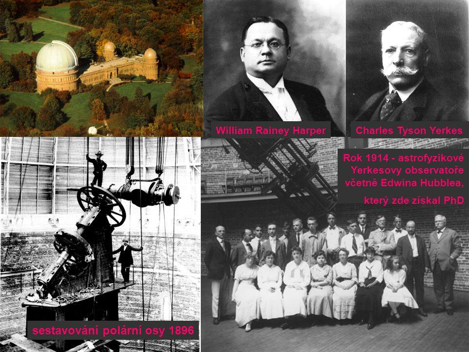sestavování polární osy 1896 Charles Tyson YerkesWilliam Rainey Harper Rok 1914 - astrofyzikové Yerkesovy observatoře včetně Edwina Hubblea, který zde