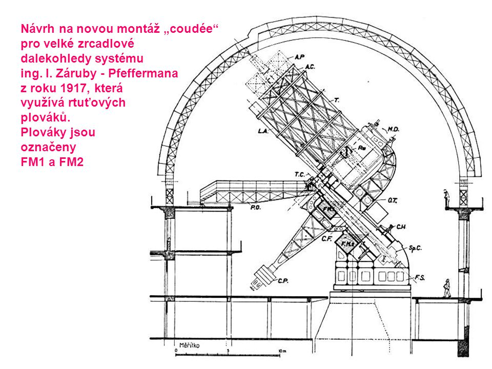 """Návrh na novou montáž """"coudée"""" pro velké zrcadlové dalekohledy systému ing. I. Záruby - Pfeffermana z roku 1917, která využívá rtuťových plováků. Plov"""