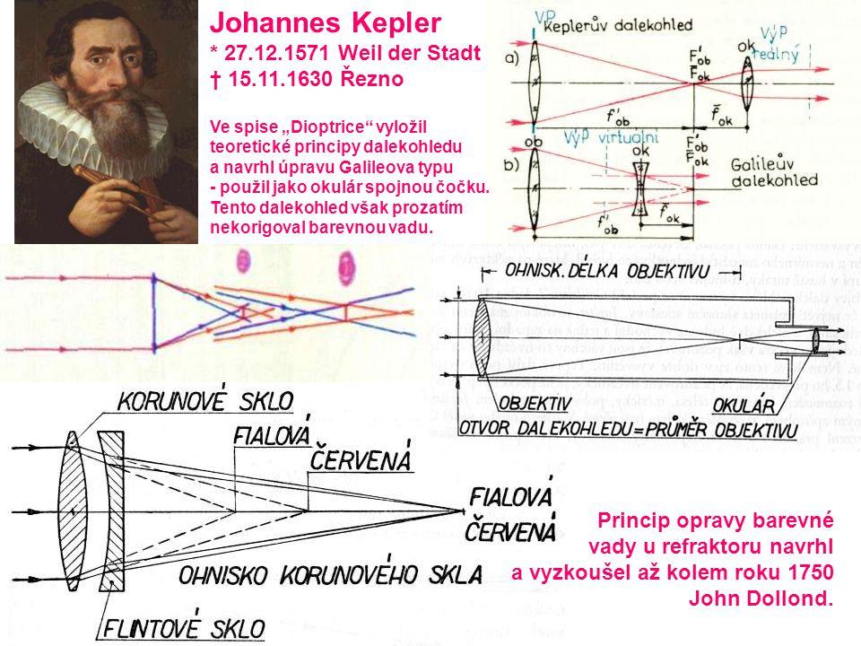 """Johannes Kepler * 27.12.1571 Weil der Stadt † 15.11.1630 Řezno Ve spise """"Dioptrice"""" vyložil teoretické principy dalekohledu a navrhl úpravu Galileova"""