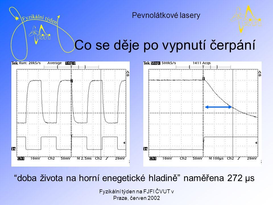 Pevnolátkové lasery Fyzikální týden na FJFI ČVUT v Praze, červen 2002 Co se děje po vypnutí čerpání doba života na horní enegetické hladině naměřena 272 μs