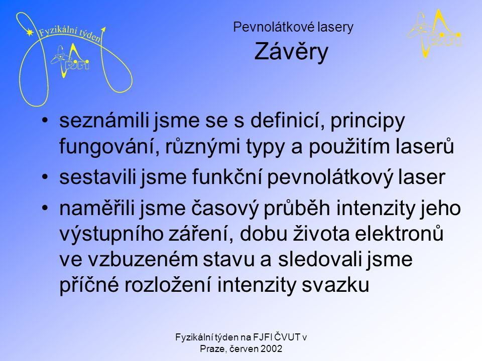 Pevnolátkové lasery Fyzikální týden na FJFI ČVUT v Praze, červen 2002 Závěry seznámili jsme se s definicí, principy fungování, různými typy a použitím laserů sestavili jsme funkční pevnolátkový laser naměřili jsme časový průběh intenzity jeho výstupního záření, dobu života elektronů ve vzbuzeném stavu a sledovali jsme příčné rozložení intenzity svazku