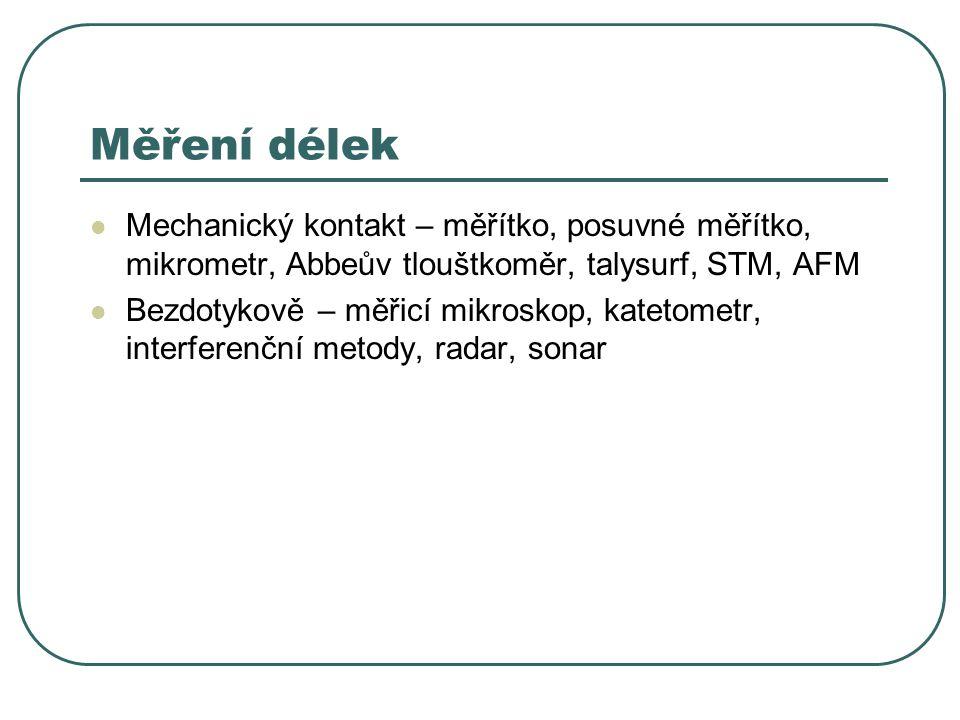 Měření délek Mechanický kontakt – měřítko, posuvné měřítko, mikrometr, Abbeův tlouštkoměr, talysurf, STM, AFM Bezdotykově – měřicí mikroskop, katetometr, interferenční metody, radar, sonar