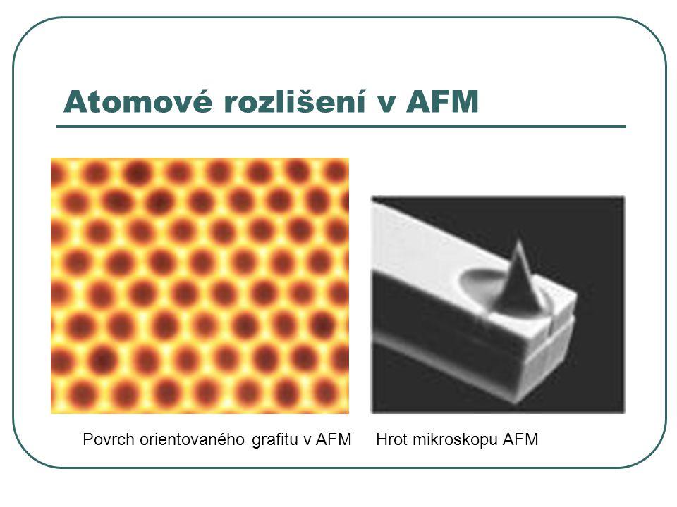 Atomové rozlišení v AFM Povrch orientovaného grafitu v AFMHrot mikroskopu AFM