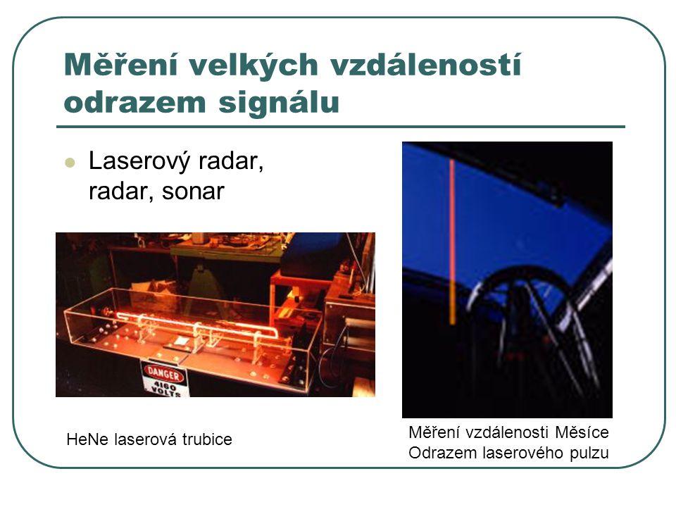 Měření velkých vzdáleností odrazem signálu Laserový radar, radar, sonar HeNe laserová trubice Měření vzdálenosti Měsíce Odrazem laserového pulzu