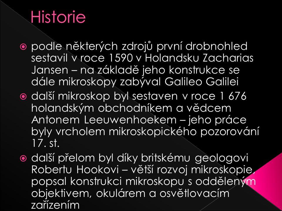  podle některých zdrojů první drobnohled sestavil v roce 1590 v Holandsku Zacharias Jansen – na základě jeho konstrukce se dále mikroskopy zabýval Galileo Galilei  další mikroskop byl sestaven v roce 1 676 holandským obchodníkem a vědcem Antonem Leeuwenhoekem – jeho práce byly vrcholem mikroskopického pozorování 17.