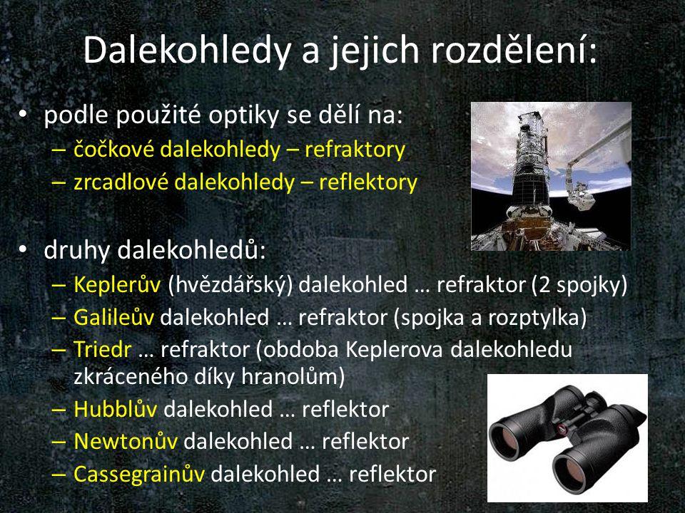 Dalekohledy a jejich rozdělení: podle použité optiky se dělí na: – čočkové dalekohledy – refraktory – zrcadlové dalekohledy – reflektory druhy dalekoh