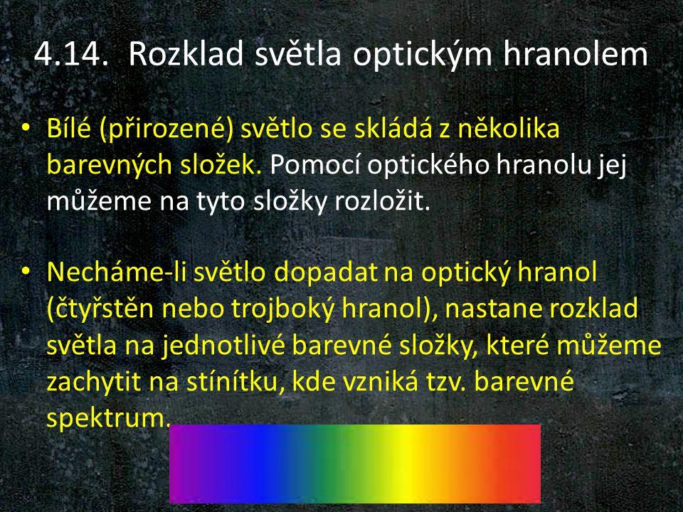 4.14. Rozklad světla optickým hranolem Bílé (přirozené) světlo se skládá z několika barevných složek. Pomocí optického hranolu jej můžeme na tyto slož