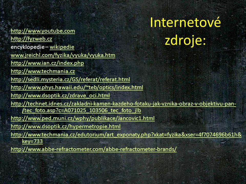 Internetové zdroje: http://www.youtube.com http://fyzweb.cz encyklopedie – wikipediewikipedie www.jreichl.com/fyzika/vyuka/vyuka.htm http://www.ian.cz