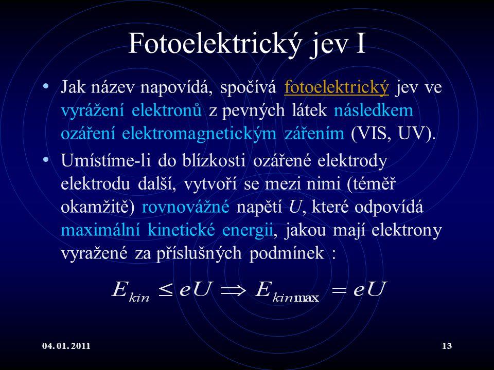 04. 01. 201113 Fotoelektrický jev I Jak název napovídá, spočívá fotoelektrický jev ve vyrážení elektronů z pevných látek následkem ozáření elektromagn