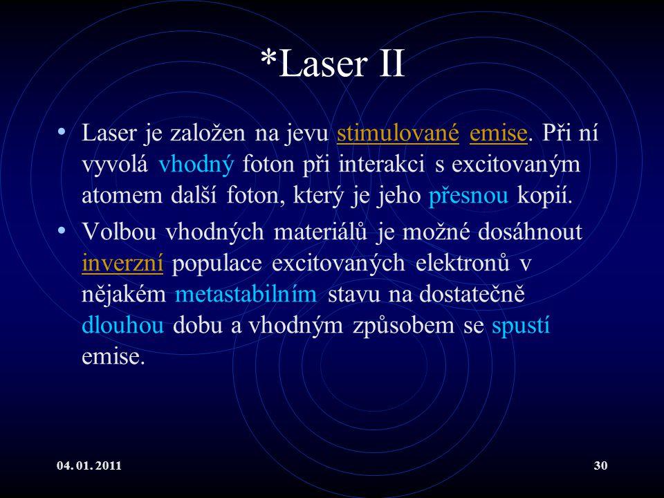 04. 01. 201130 *Laser II Laser je založen na jevu stimulované emise. Při ní vyvolá vhodný foton při interakci s excitovaným atomem další foton, který