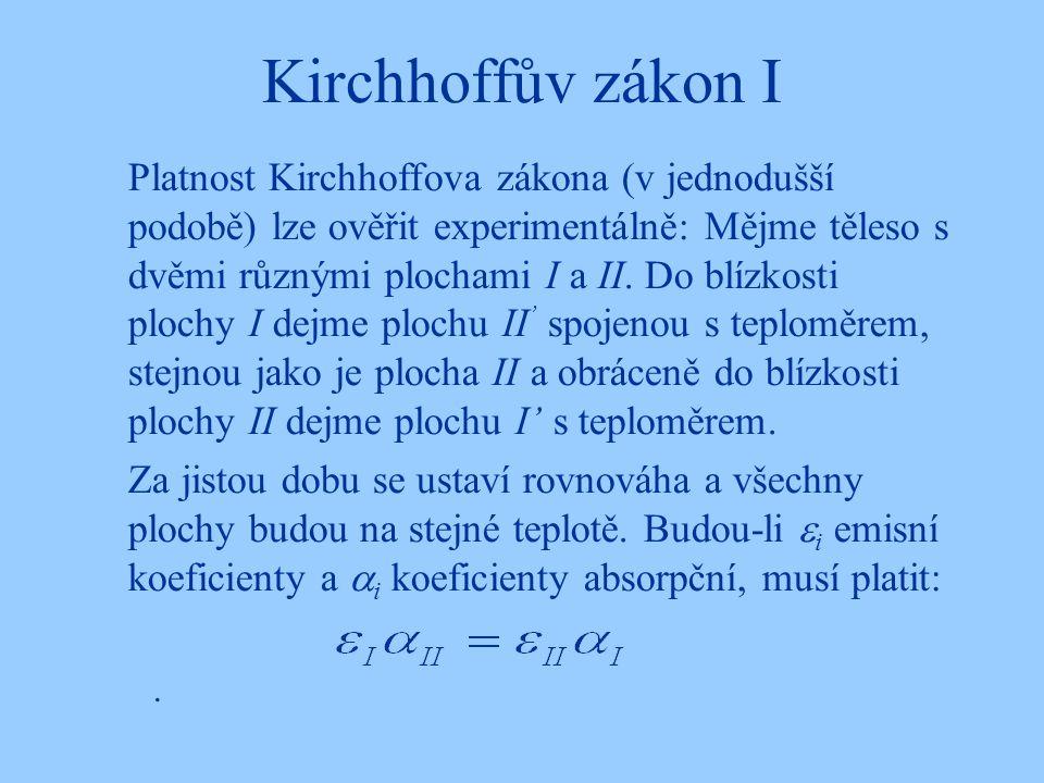 Kirchhoffův zákon I. Platnost Kirchhoffova zákona (v jednodušší podobě) lze ověřit experimentálně: Mějme těleso s dvěmi různými plochami I a II. Do bl