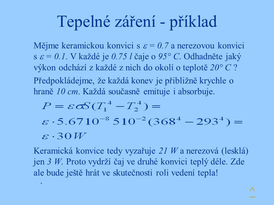 Tepelné záření - příklad. Mějme keramickou konvici s  = 0.7 a nerezovou konvici s  = 0.1. V každé je 0.75 l čaje o 95° C. Odhadněte jaký výkon odchá