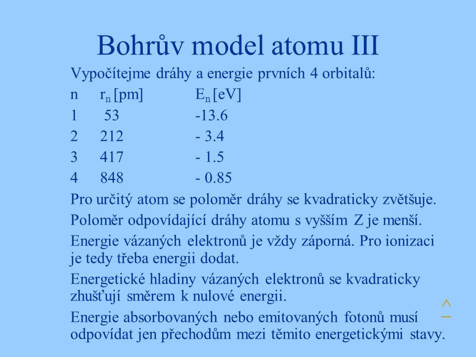 Bohrův model atomu III Vypočítejme dráhy a energie prvních 4 orbitalů: nr n [pm]E n [eV] 1 53-13.6 2212- 3.4 3417- 1.5 4848- 0.85 Pro určitý atom se poloměr dráhy se kvadraticky zvětšuje.