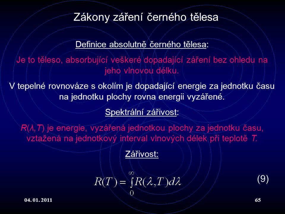 04. 01. 201165 Zákony záření černého tělesa Definice absolutně černého tělesa: Je to těleso, absorbující veškeré dopadající záření bez ohledu na jeho