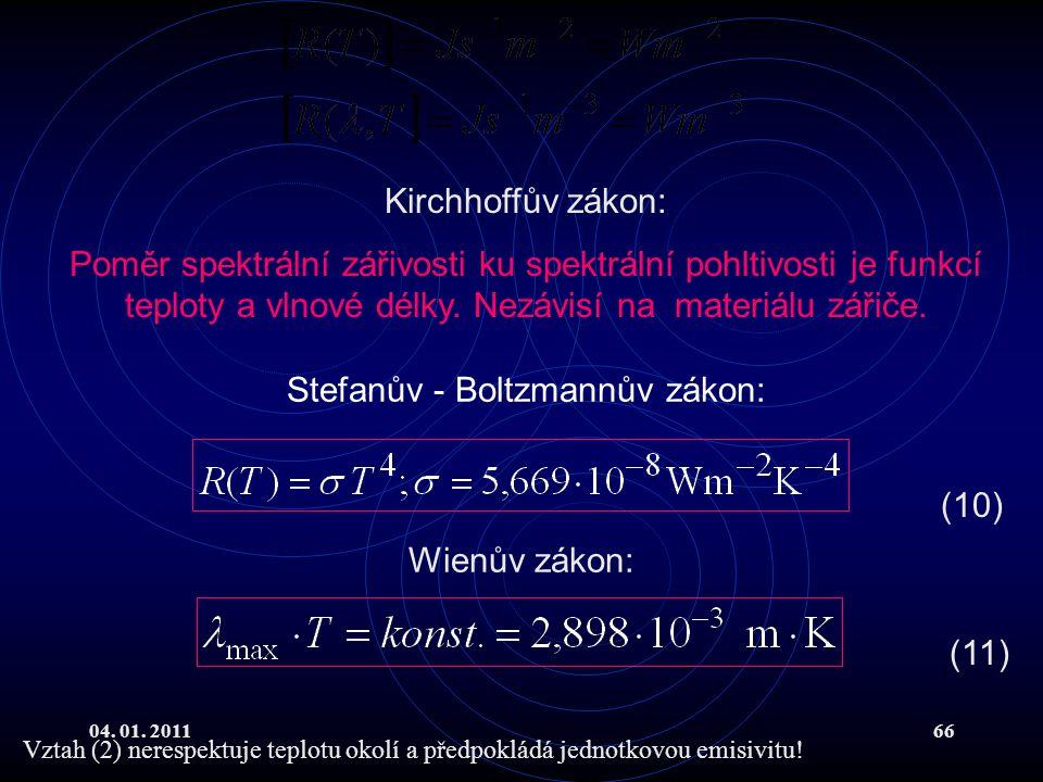 04. 01. 201166 Stefanův - Boltzmannův zákon: Kirchhoffův zákon: Poměr spektrální zářivosti ku spektrální pohltivosti je funkcí teploty a vlnové délky.