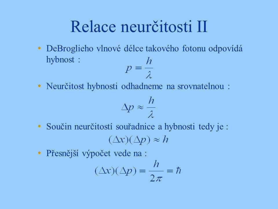 Relace neurčitosti II DeBroglieho vlnové délce takového fotonu odpovídá hybnost : Neurčitost hybnosti odhadneme na srovnatelnou : Součin neurčitostí souřadnice a hybnosti tedy je : Přesnější výpočet vede na :