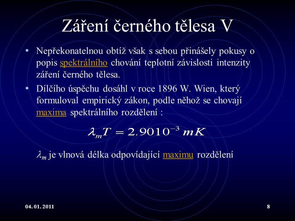 04.01. 201129 Laser I Obrovský průlom do mnoha oblastí vědy byl objev laserového záření.
