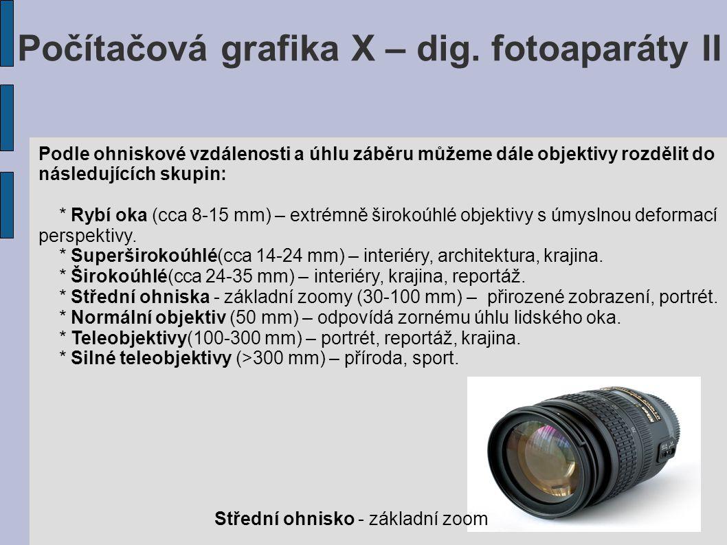 Počítačová grafika X – dig. fotoaparáty II Podle ohniskové vzdálenosti a úhlu záběru můžeme dále objektivy rozdělit do následujících skupin: * Rybí ok