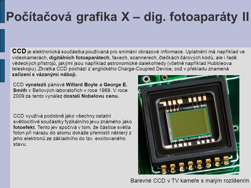 Počítačová grafika X – dig. fotoaparáty II CCD je elektronická součástka používaná pro snímání obrazové informace. Uplatnění má například ve videokame