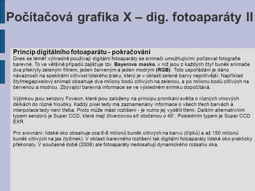 Počítačová grafika X – dig. fotoaparáty II Princip digitálního fotoaparátu - pokračování Dnes se téměř výhradně používají digitální fotoaparáty se sní