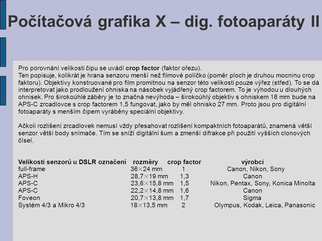 Počítačová grafika X – dig. fotoaparáty II Pro porovnání velikosti čipu se uvádí crop factor (faktor ořezu). Ten popisuje, kolikrát je hrana senzoru m