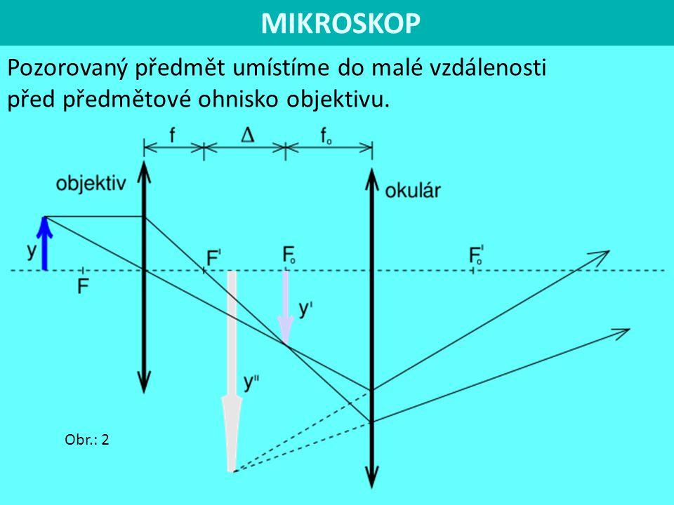 MIKROSKOP Pozorovaný předmět umístíme do malé vzdálenosti před předmětové ohnisko objektivu. Obr.: 2