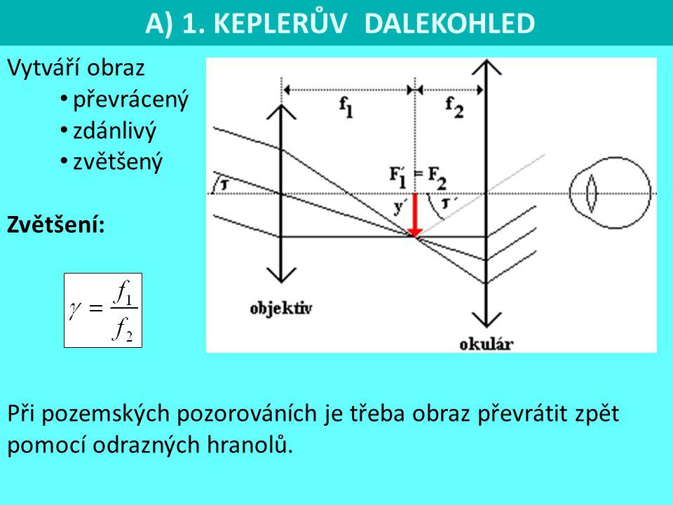 A) 1. KEPLERŮV DALEKOHLED Vytváří obraz převrácený zdánlivý zvětšený Zvětšení: Při pozemských pozorováních je třeba obraz převrátit zpět pomocí odrazn