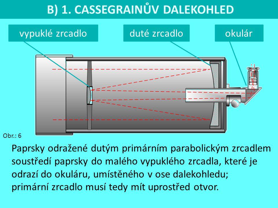 B) 1. CASSEGRAINŮV DALEKOHLED Obr.: 6 okulár Paprsky odražené dutým primárním parabolickým zrcadlem soustředí paprsky do malého vypuklého zrcadla, kte