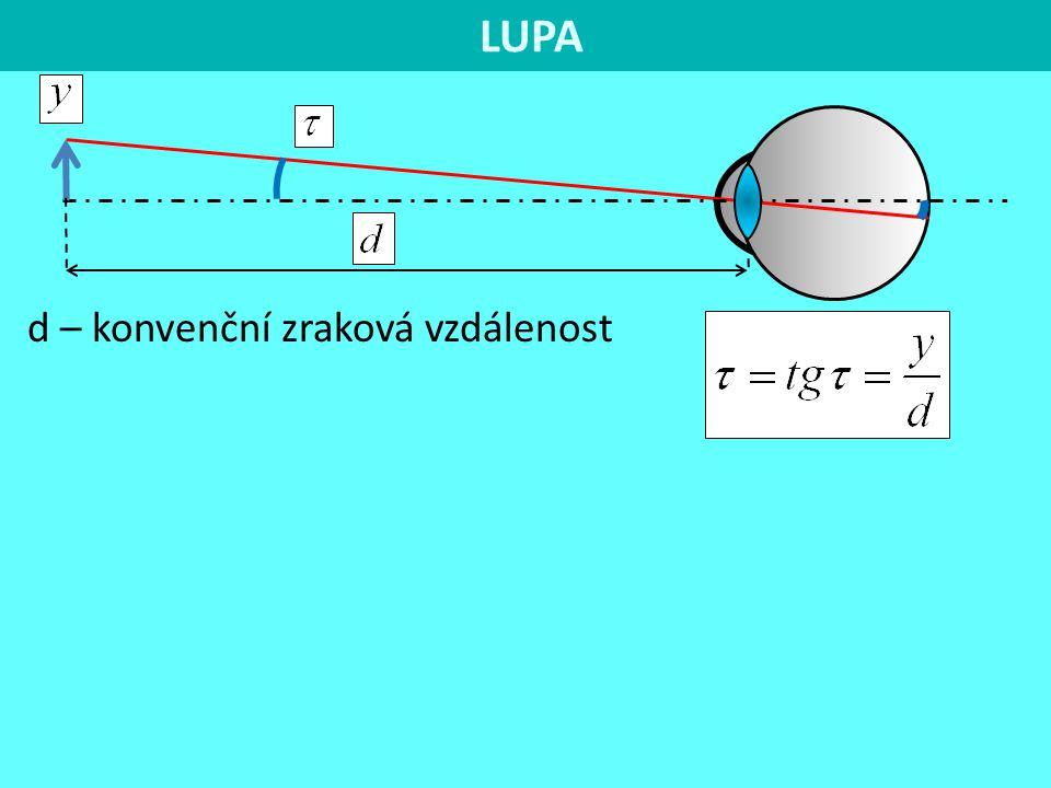 LUPA d – konvenční zraková vzdálenost