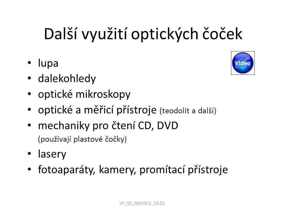 Další využití optických čoček lupa dalekohledy optické mikroskopy optické a měřicí přístroje (teodolit a další) mechaniky pro čtení CD, DVD (používají plastové čočky) lasery fotoaparáty, kamery, promítací přístroje VY_32_INOVACE_F.2.21