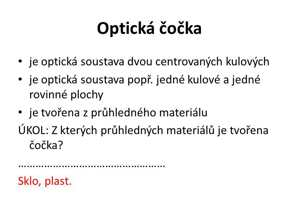 Optická čočka je optická soustava dvou centrovaných kulových je optická soustava popř. jedné kulové a jedné rovinné plochy je tvořena z průhledného ma