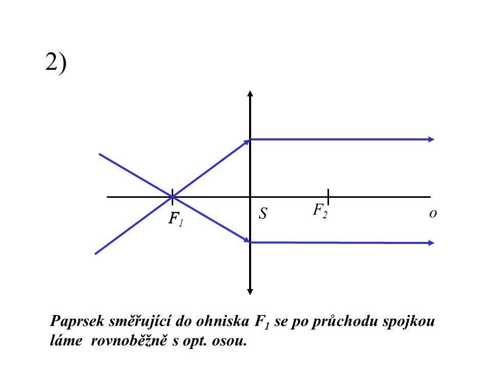 2) Paprsek směřující do ohniska F 1 se po průchodu spojkou láme rovnoběžně s opt. osou. F F2F2 F1F1 o S