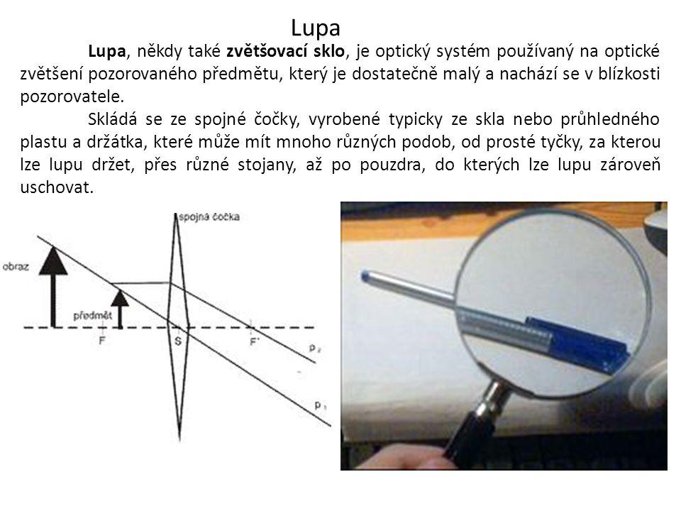 Lupa Lupa, někdy také zvětšovací sklo, je optický systém používaný na optické zvětšení pozorovaného předmětu, který je dostatečně malý a nachází se v blízkosti pozorovatele.