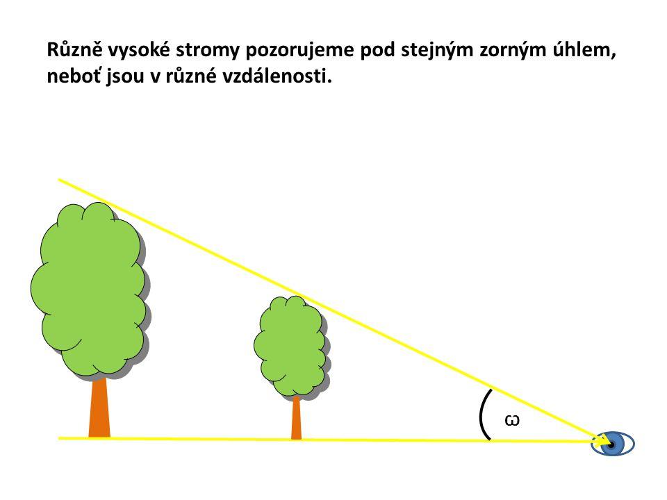 Ѡ Různě vysoké stromy pozorujeme pod stejným zorným úhlem, neboť jsou v různé vzdálenosti.