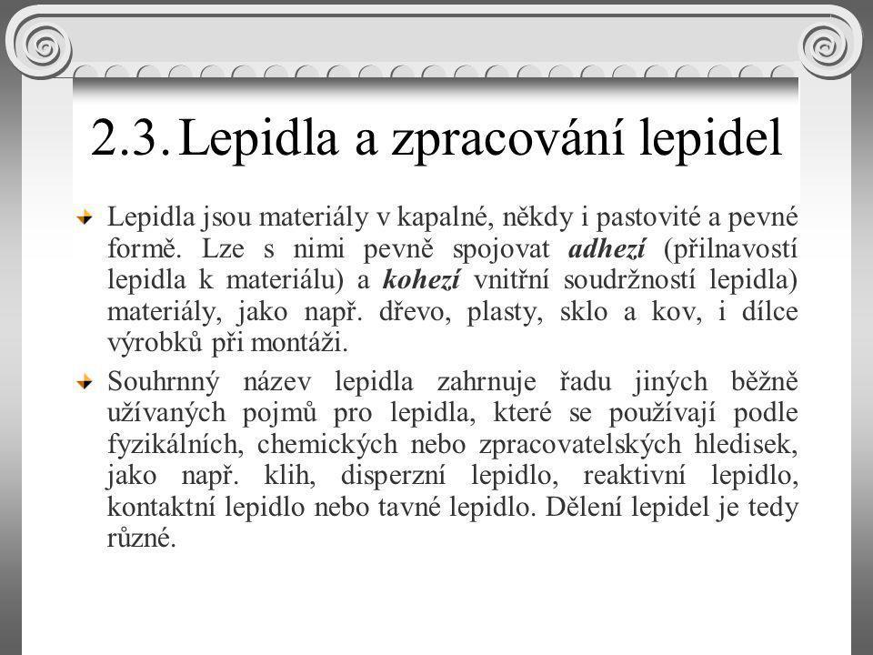 Epoxidová, polychloroprenová, polyakrylátová a polyuretanová lepidla Polychloroprenová lepidla se označují také jako kontaktní lepidla, neoprenová lepidla nebo jako polychlorbutadienová lepidla; dodávají se pouze v kapalné formě.