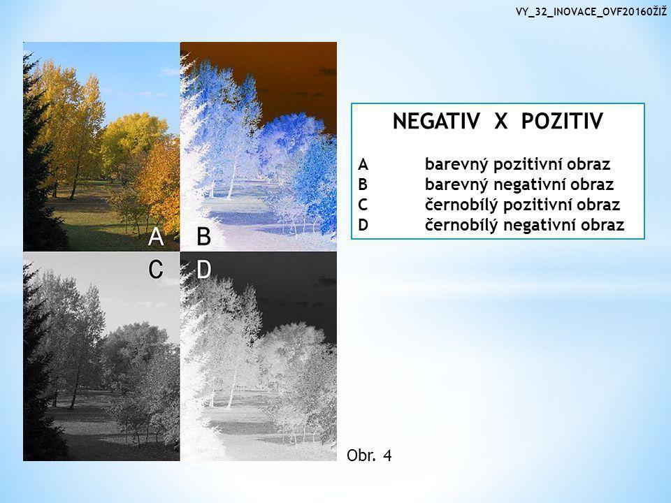 VY_32_INOVACE_OVF20160ŽIŽ NEGATIV X POZITIV Abarevný pozitivní obraz Bbarevný negativní obraz Cčernobílý pozitivní obraz Dčernobílý negativní obraz Obr.
