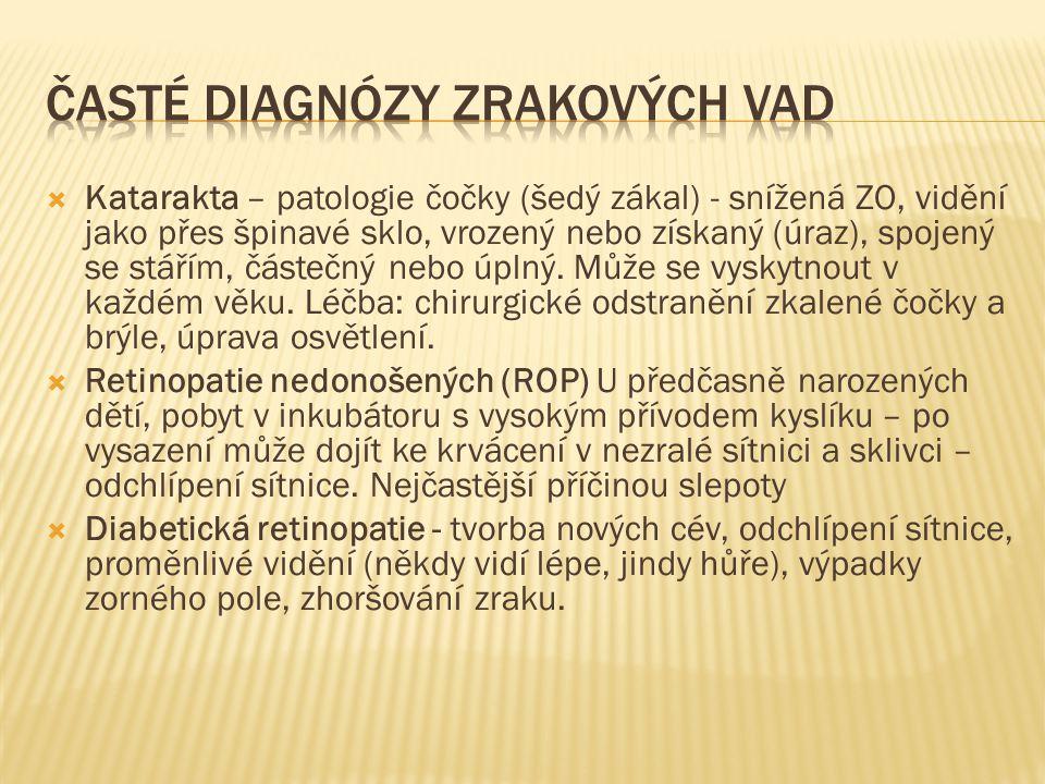  Katarakta – patologie čočky (šedý zákal) - snížená ZO, vidění jako přes špinavé sklo, vrozený nebo získaný (úraz), spojený se stářím, částečný nebo