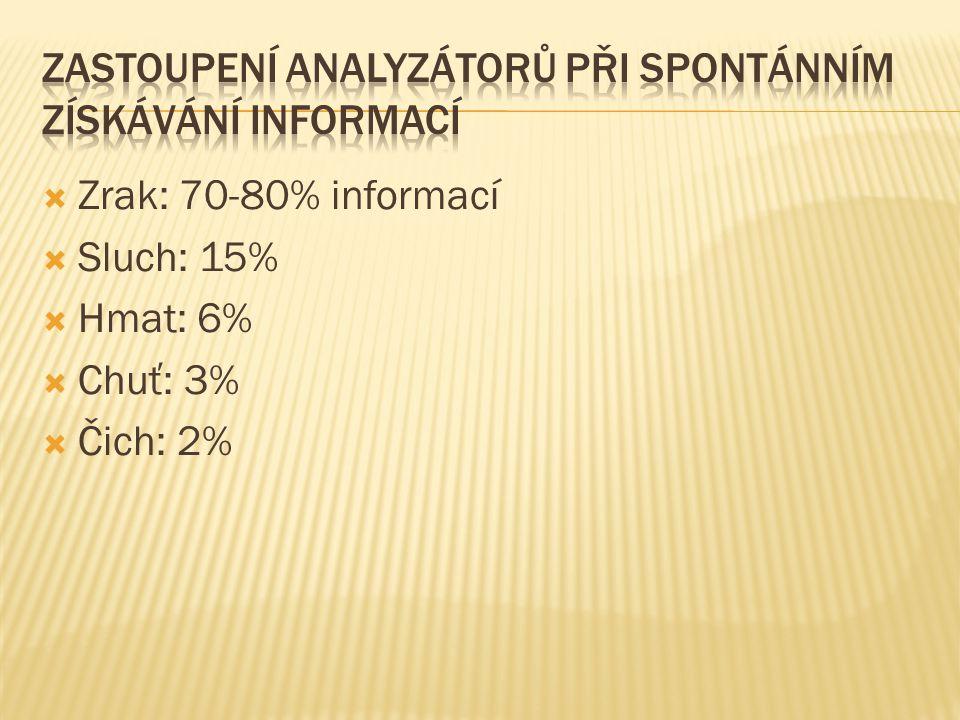  Zrak: 70-80% informací  Sluch: 15%  Hmat: 6%  Chuť: 3%  Čich: 2%