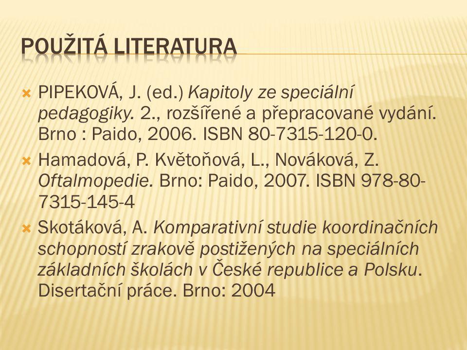  PIPEKOVÁ, J. (ed.) Kapitoly ze speciální pedagogiky. 2., rozšířené a přepracované vydání. Brno : Paido, 2006. ISBN 80-7315-120-0.  Hamadová, P. Kvě
