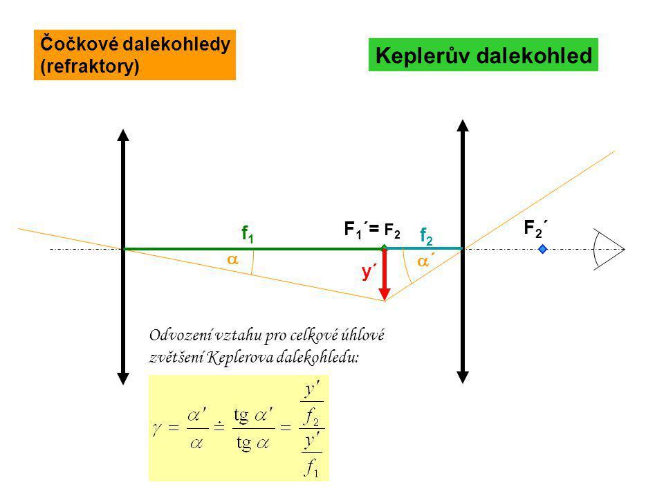 F 1 ´= F 2 F2´F2´ Keplerův dalekohled f1f1  ´´ y´ f2f2 Odvození vztahu pro celkové úhlové zvětšení Keplerova dalekohledu: Čočkové dalekohledy (refr