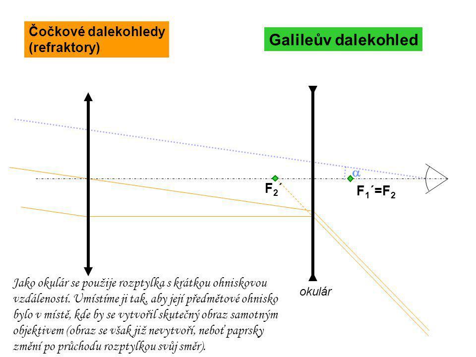  F 1 ´=F 2 Galileův dalekohled F2´F2´ okulár Jako okulár se použije rozptylka s krátkou ohniskovou vzdáleností. Umístíme ji tak, aby její předmětové