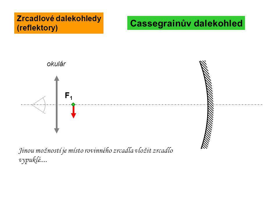 FF1F1 okulár Cassegrainův dalekohled Jinou možností je místo rovinného zrcadla vložit zrcadlo vypuklé.... Zrcadlové dalekohledy (reflektory)