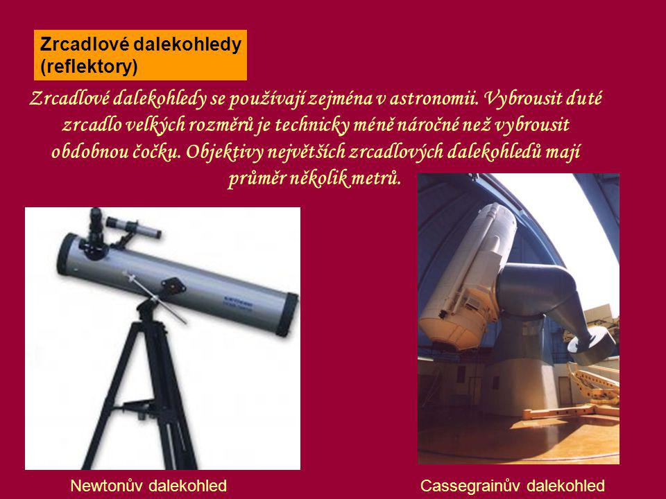 Newtonův dalekohled Zrcadlové dalekohledy se používají zejména v astronomii. Vybrousit duté zrcadlo velkých rozměrů je technicky méně náročné než vybr
