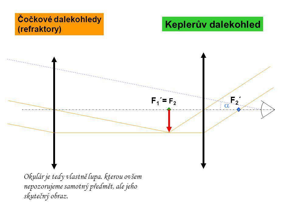  F 1 ´= F 2 F2´F2´ Keplerův dalekohled Okulár je tedy vlastně lupa. kterou ovšem nepozorujeme samotný předmět, ale jeho skutečný obraz. Čočkové dalek