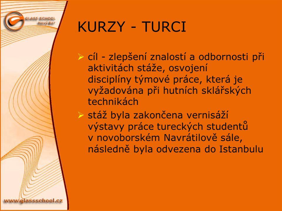 KURZY - TURCI  cíl - zlepšení znalostí a odbornosti při aktivitách stáže, osvojení disciplíny týmové práce, která je vyžadována při hutních sklářskýc