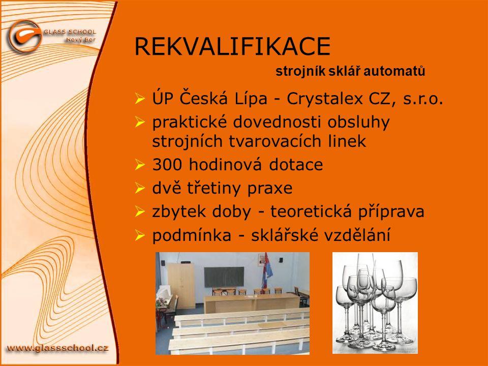 REKVALIFIKACE  ÚP Česká Lípa - Crystalex CZ, s.r.o.  praktické dovednosti obsluhy strojních tvarovacích linek  300 hodinová dotace  dvě třetiny pr