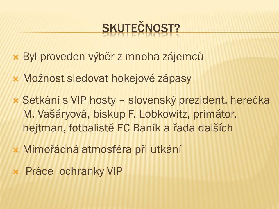  Byl proveden výběr z mnoha zájemců  Možnost sledovat hokejové zápasy  Setkání s VIP hosty – slovenský prezident, herečka M.