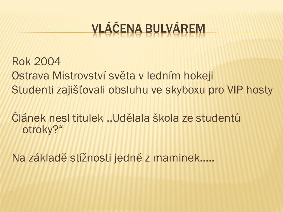 Rok 2004 Ostrava Mistrovství světa v ledním hokeji Studenti zajišťovali obsluhu ve skyboxu pro VIP hosty Článek nesl titulek,,Udělala škola ze student